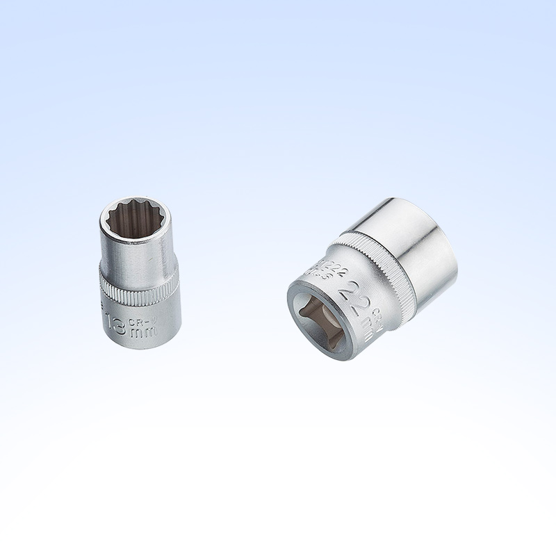 "1/2"" DR.Shallow Socket (single-groove type,knurled,two-color unit)"