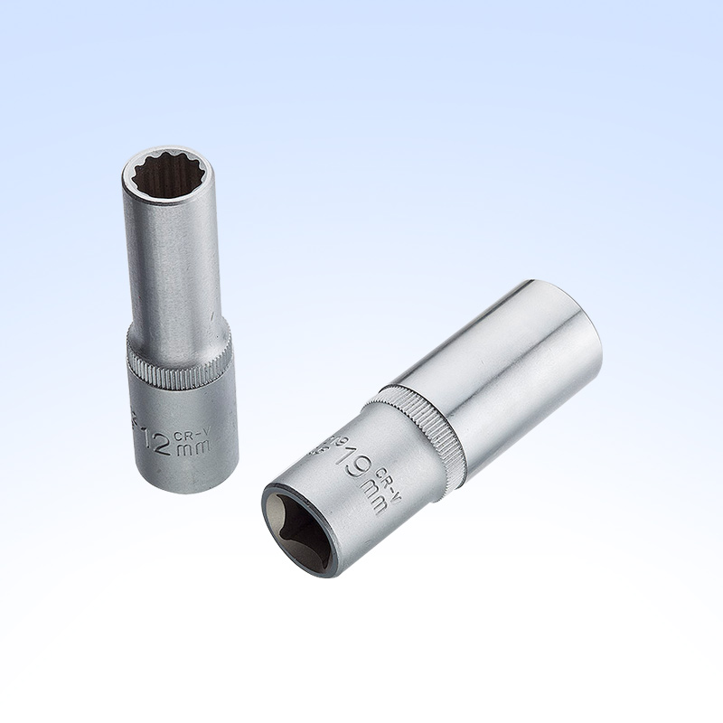 "1/2"" DR.Deep Socket (single-groove type,knurled,two-color unit)"